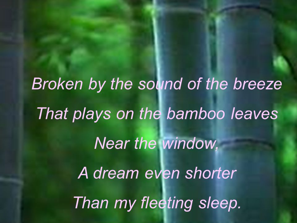 Broken by the sound of the breeze That plays on the bamboo leaves
