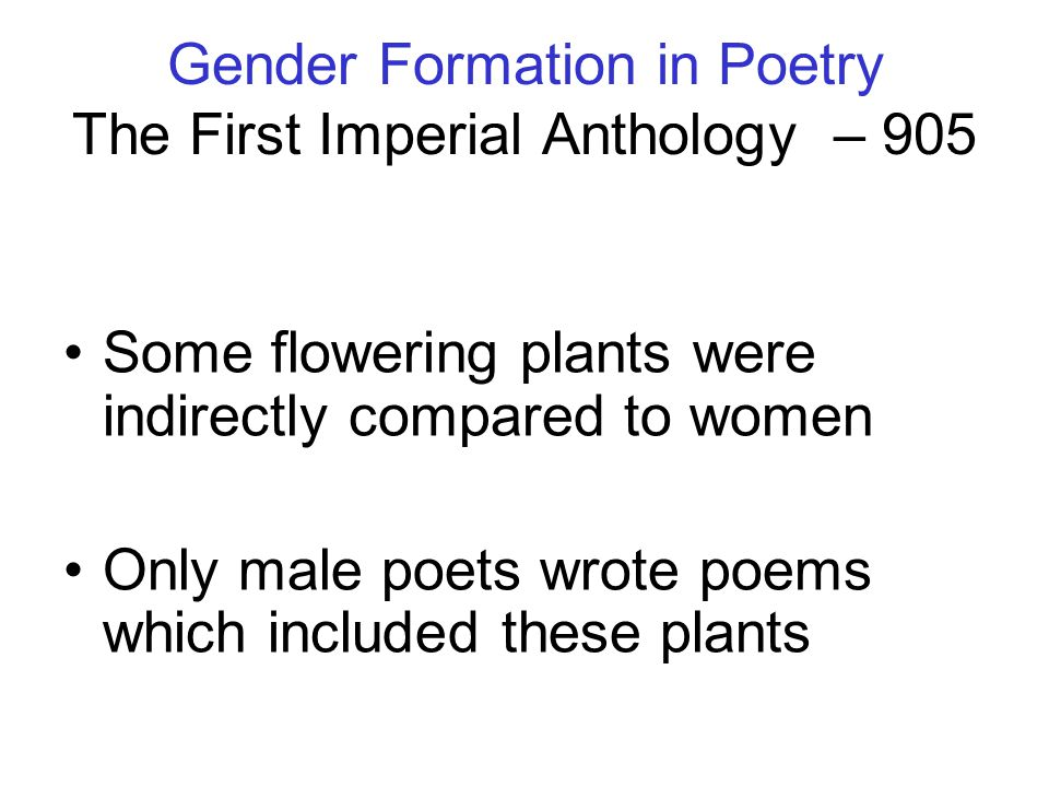 Gender Formation in Poetry The First Imperial Anthology – 905