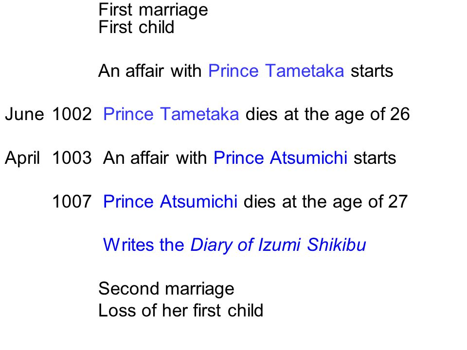 An affair with Prince Tametaka starts