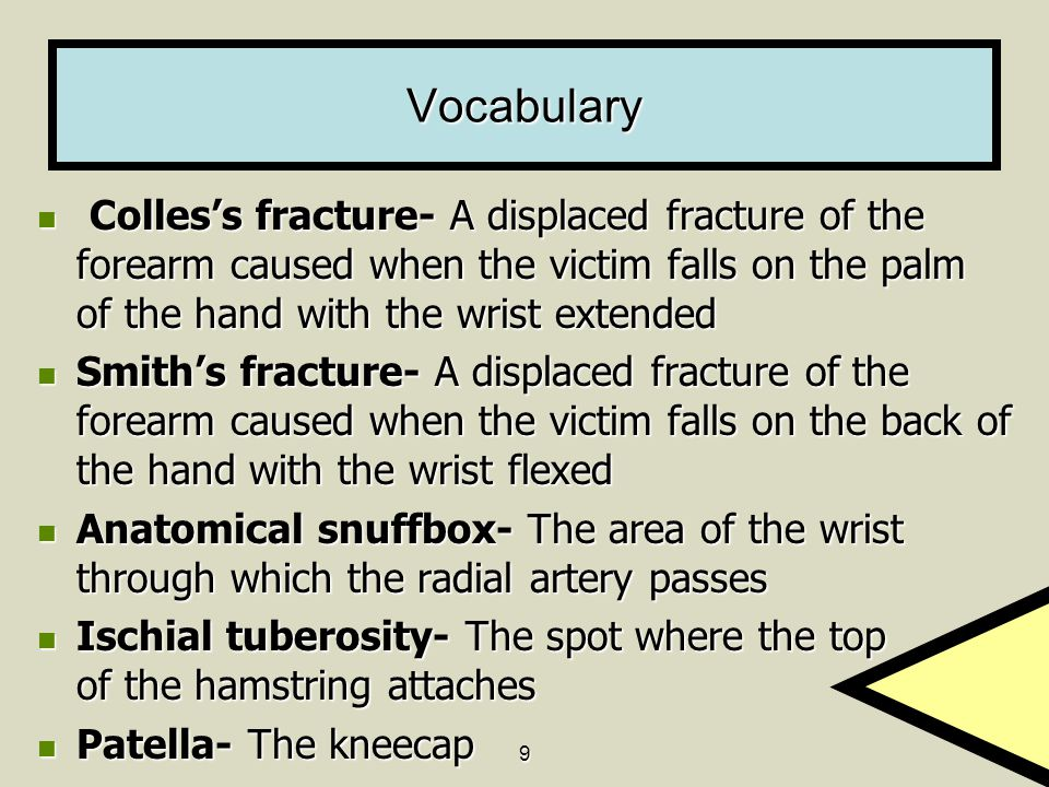 Vocabulary Colles's fracture- A displaced fracture of the forearm caused when the victim falls on the palm of the hand with the wrist extended.