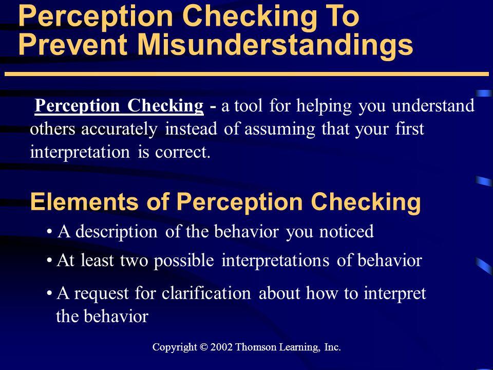 Perception Checking To Prevent Misunderstandings