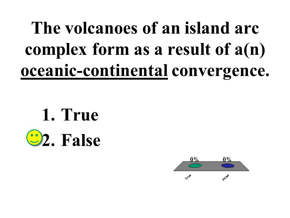 The volcanoes of an island arc complex form as a result of a(n) oceanic-continental convergence.