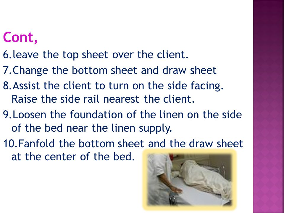 Cont, 6.leave the top sheet over the client.