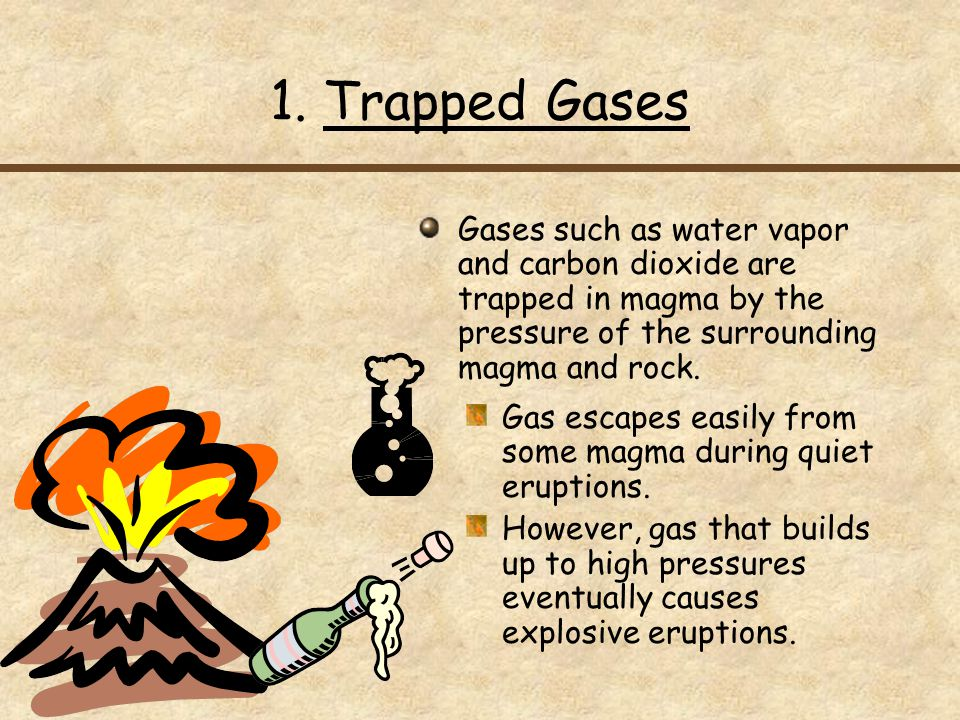 1. Trapped Gases Gases such as water vapor and carbon dioxide are trapped in magma by the pressure of the surrounding magma and rock.