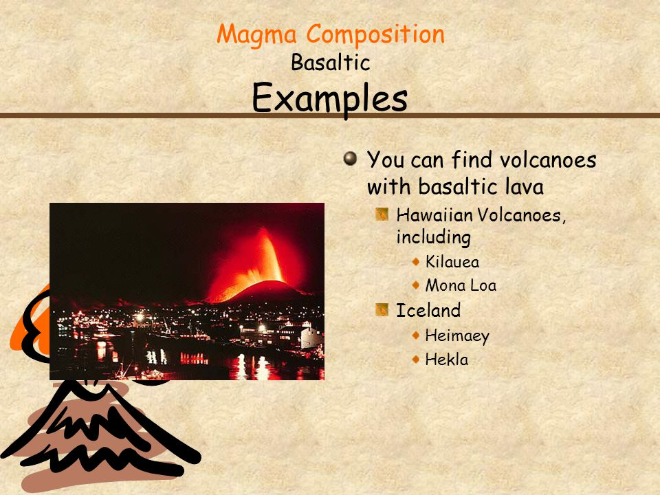 Magma Composition Basaltic Examples