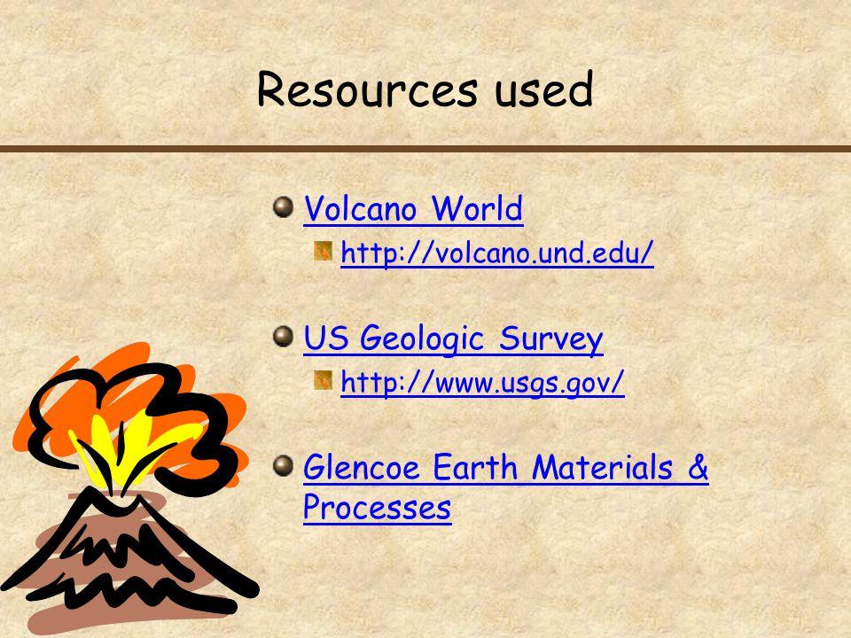 Resources used Volcano World US Geologic Survey