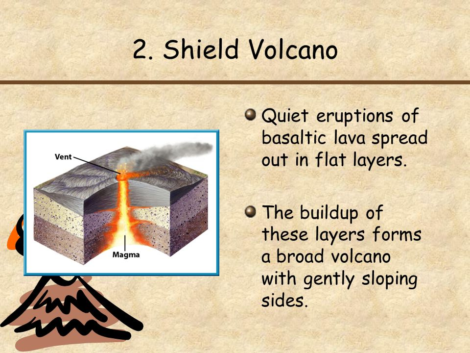 2. Shield Volcano Quiet eruptions of basaltic lava spread out in flat layers.