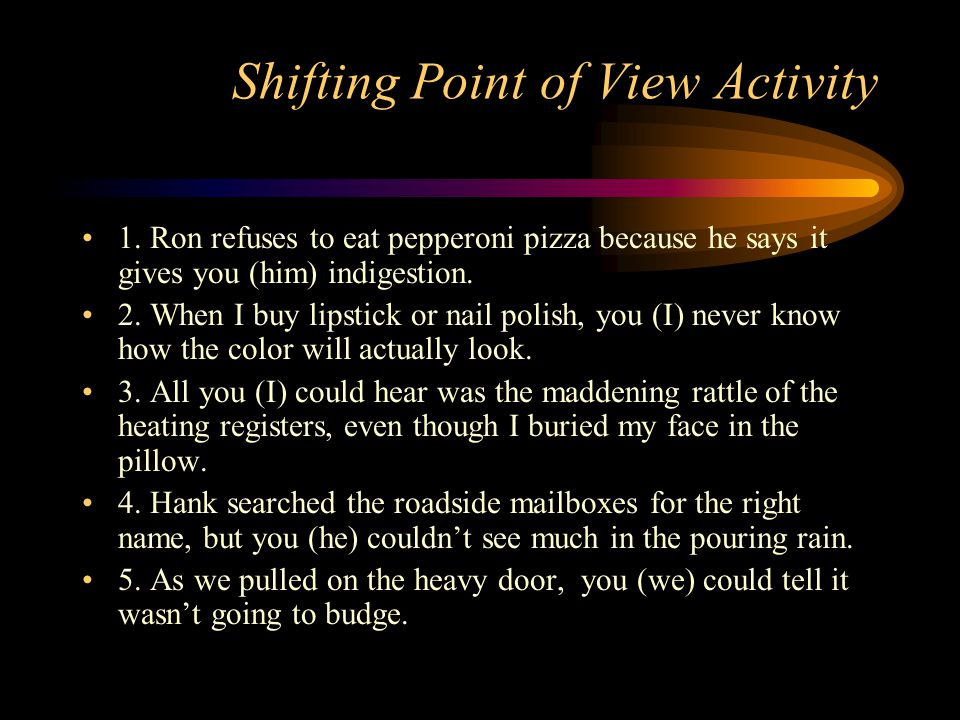 Shifting Point of View Activity
