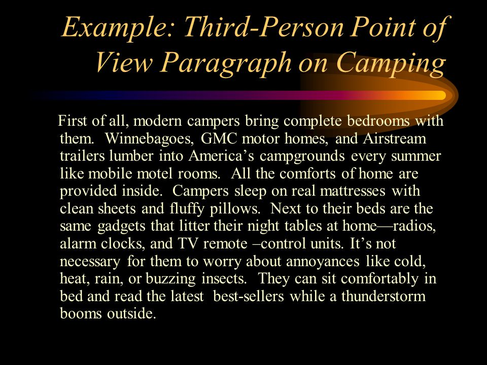 Example: Third-Person Point of View Paragraph on Camping