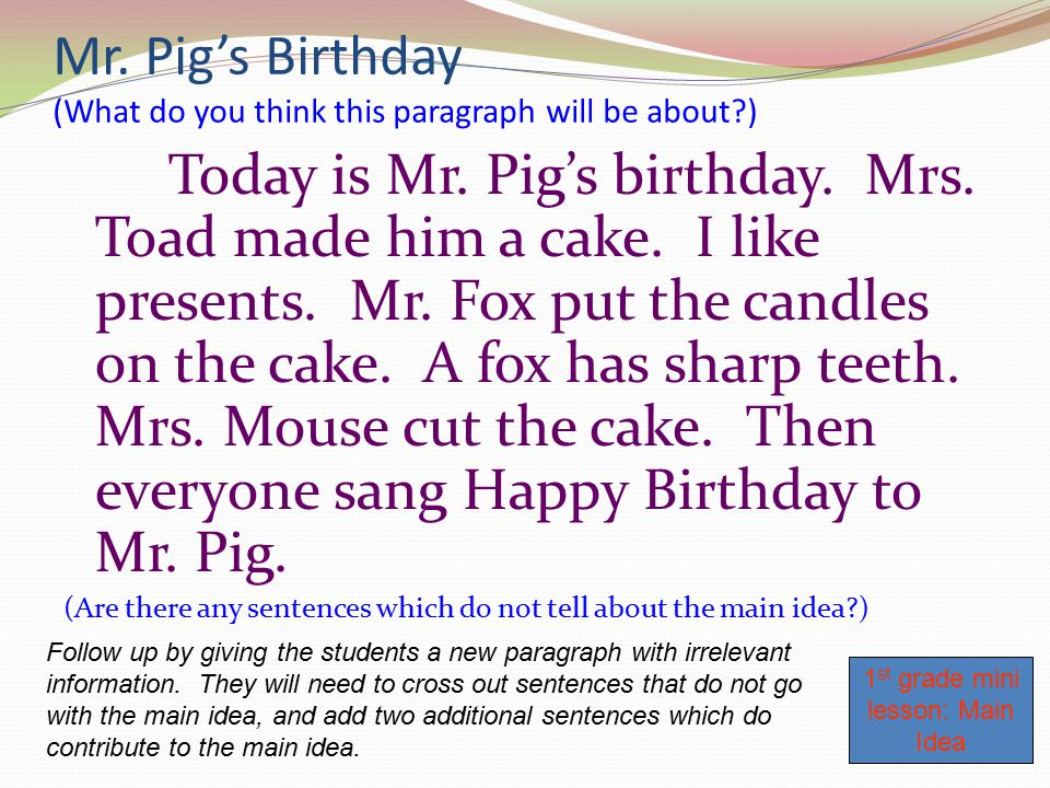 Mr. Pig's Birthday (What do you think this paragraph will be about )