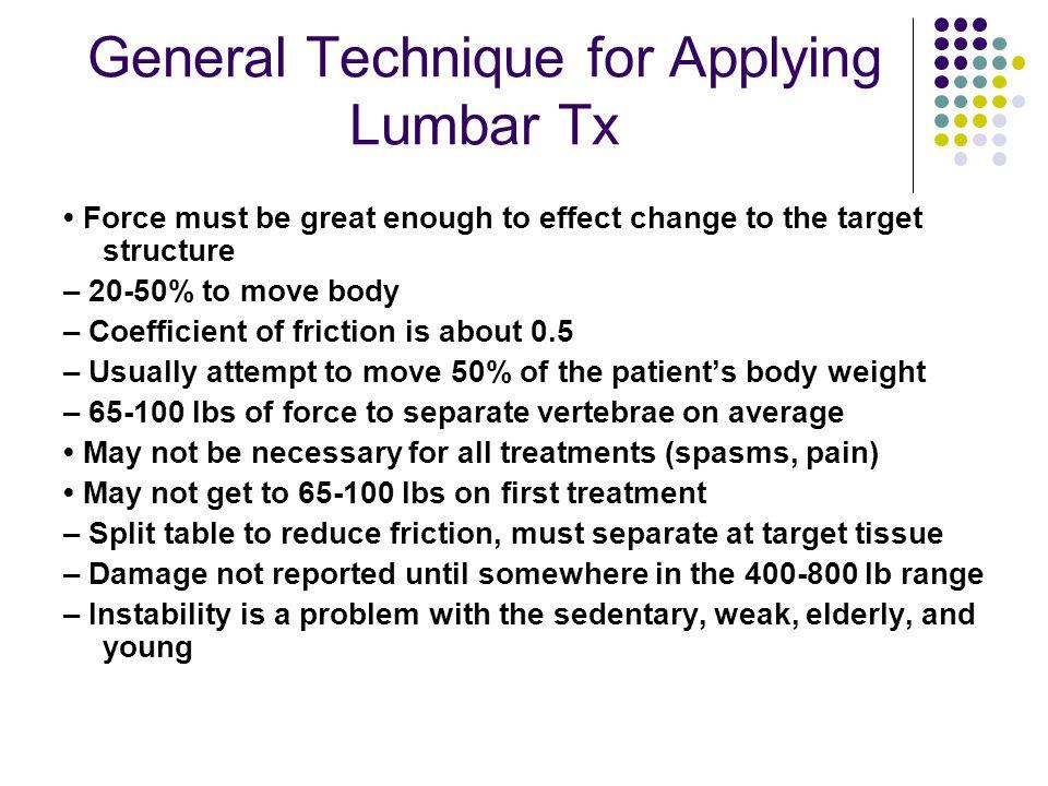 General Technique for Applying Lumbar Tx