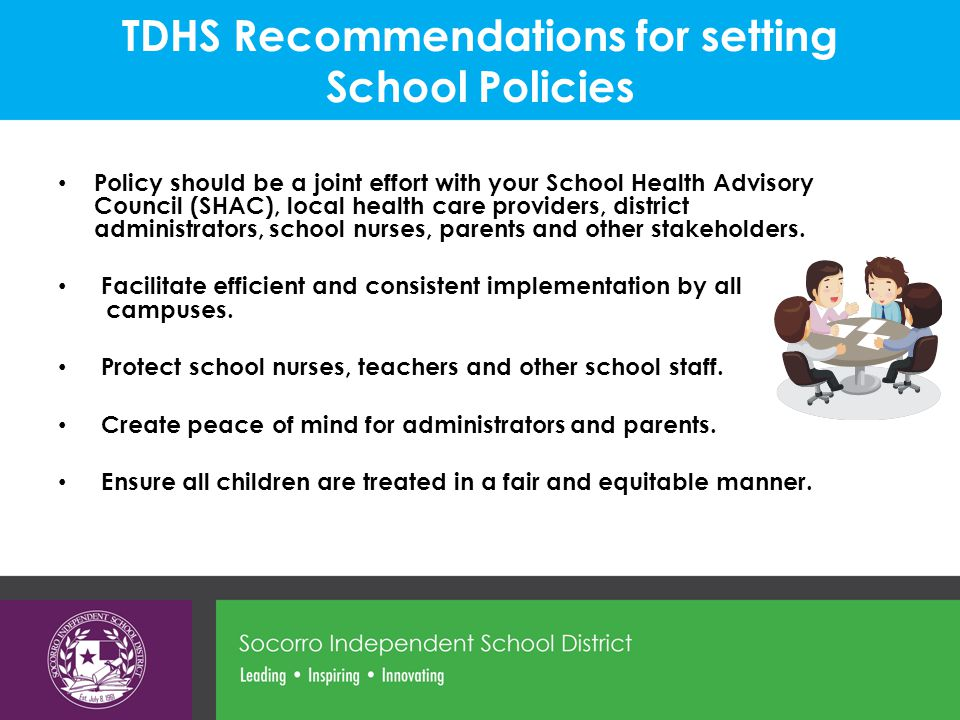 TDHS Recommendations for setting School Policies