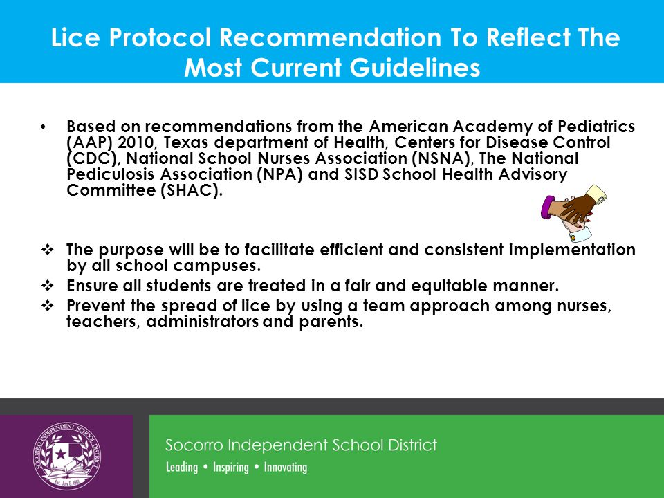 Lice Protocol Recommendation To Reflect The Most Current Guidelines