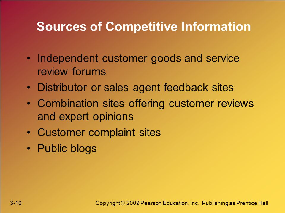 Sources of Competitive Information