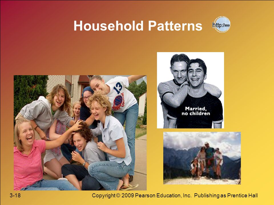 Household Patterns 3-18 Copyright © 2009 Pearson Education, Inc. Publishing as Prentice Hall