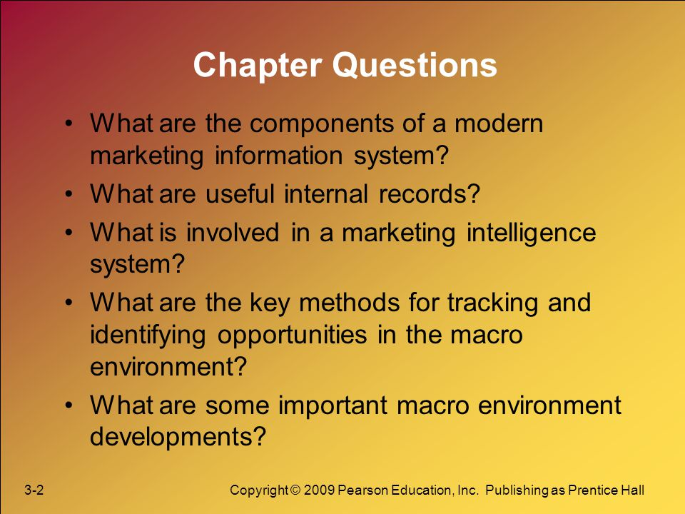 Chapter Questions What are the components of a modern marketing information system What are useful internal records