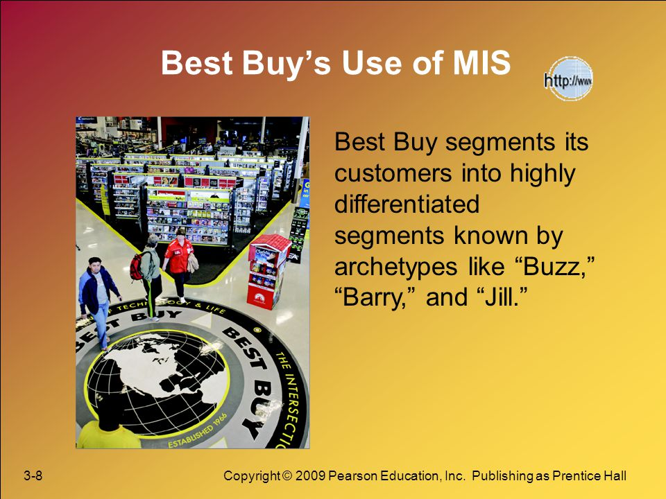 Best Buy's Use of MIS Best Buy segments its customers into highly differentiated segments known by archetypes like Buzz, Barry, and Jill.