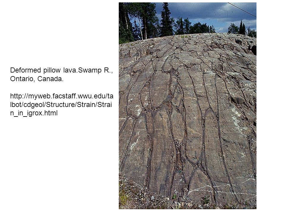 Deformed pillow lava.Swamp R., Ontario, Canada.
