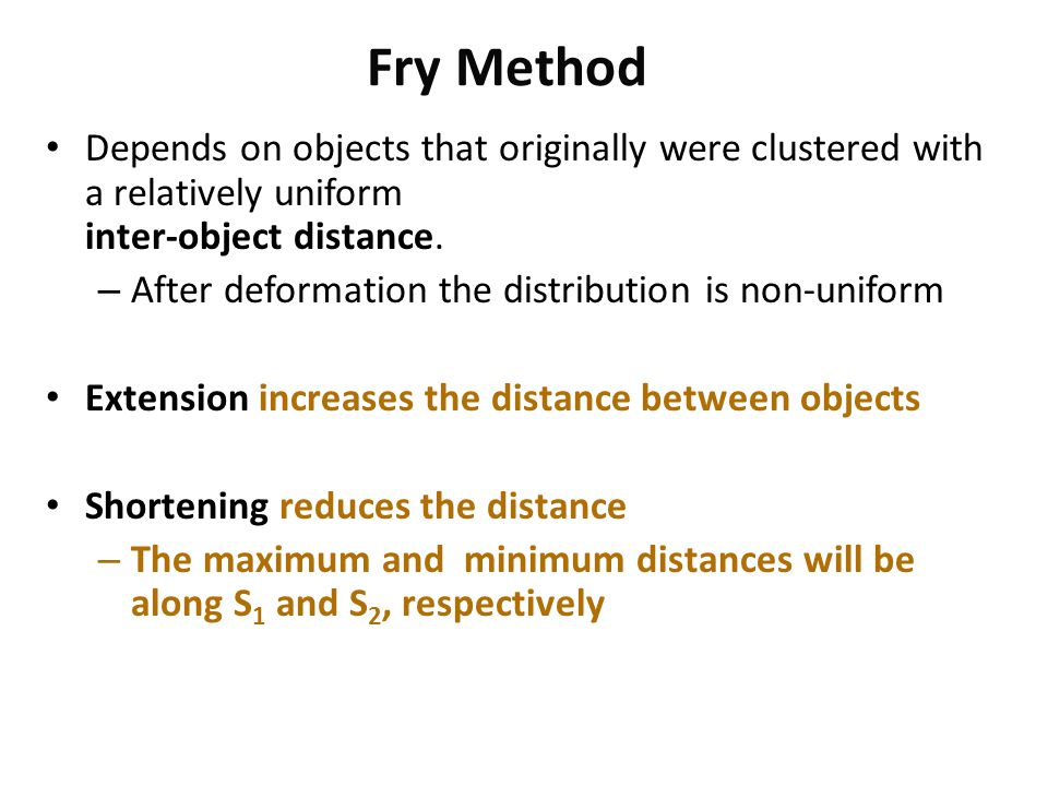 Fry Method Depends on objects that originally were clustered with a relatively uniform inter-object distance.
