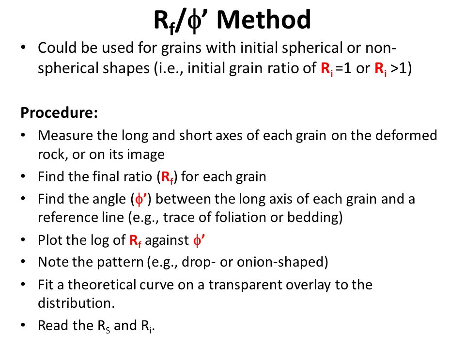 Rf/' Method Could be used for grains with initial spherical or non-spherical shapes (i.e., initial grain ratio of Ri =1 or Ri >1)