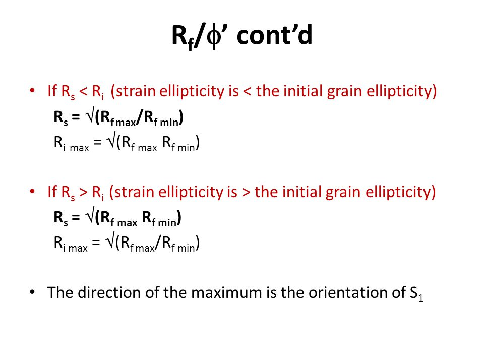 Rf/' cont'd If Rs < Ri (strain ellipticity is < the initial grain ellipticity) Rs = (Rf max/Rf min)