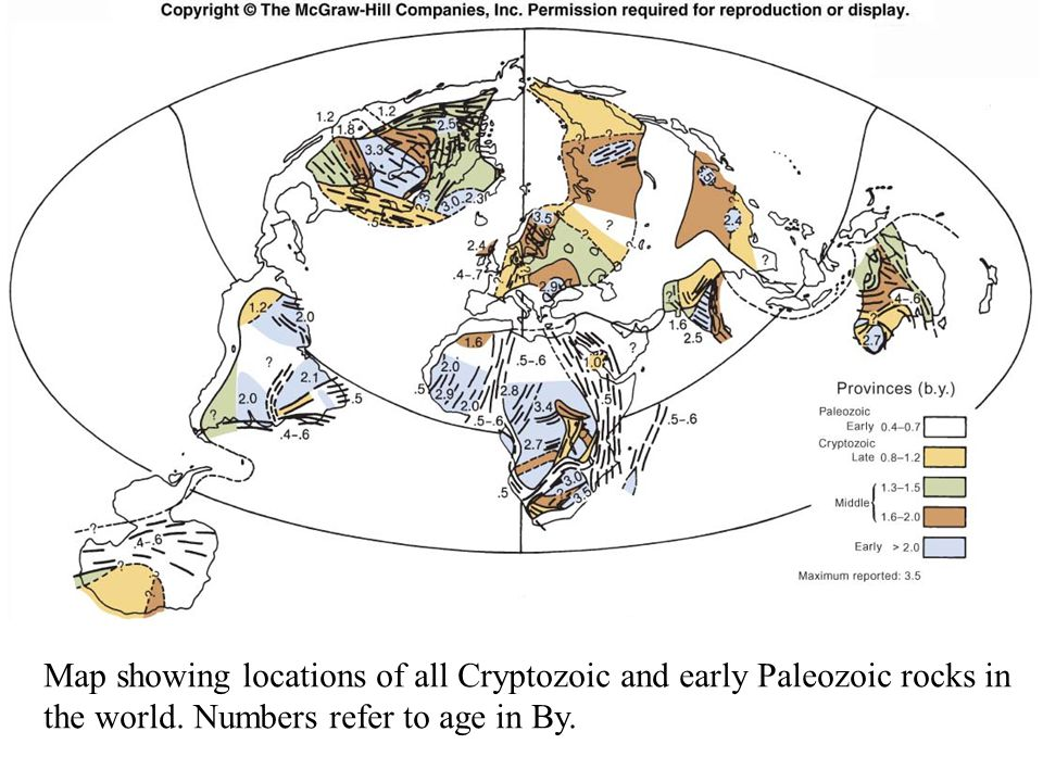 Fig. 8.3 Map showing locations of all Cryptozoic and early Paleozoic rocks in the world.