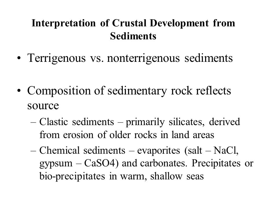 Interpretation of Crustal Development from Sediments