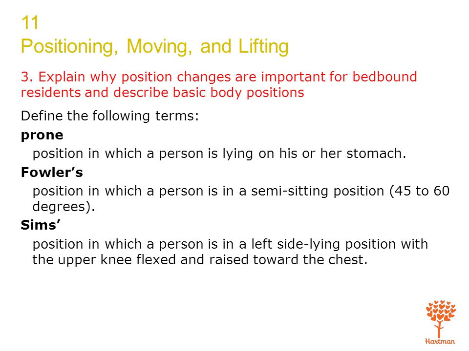 3. Explain why position changes are important for bedbound residents and describe basic body positions