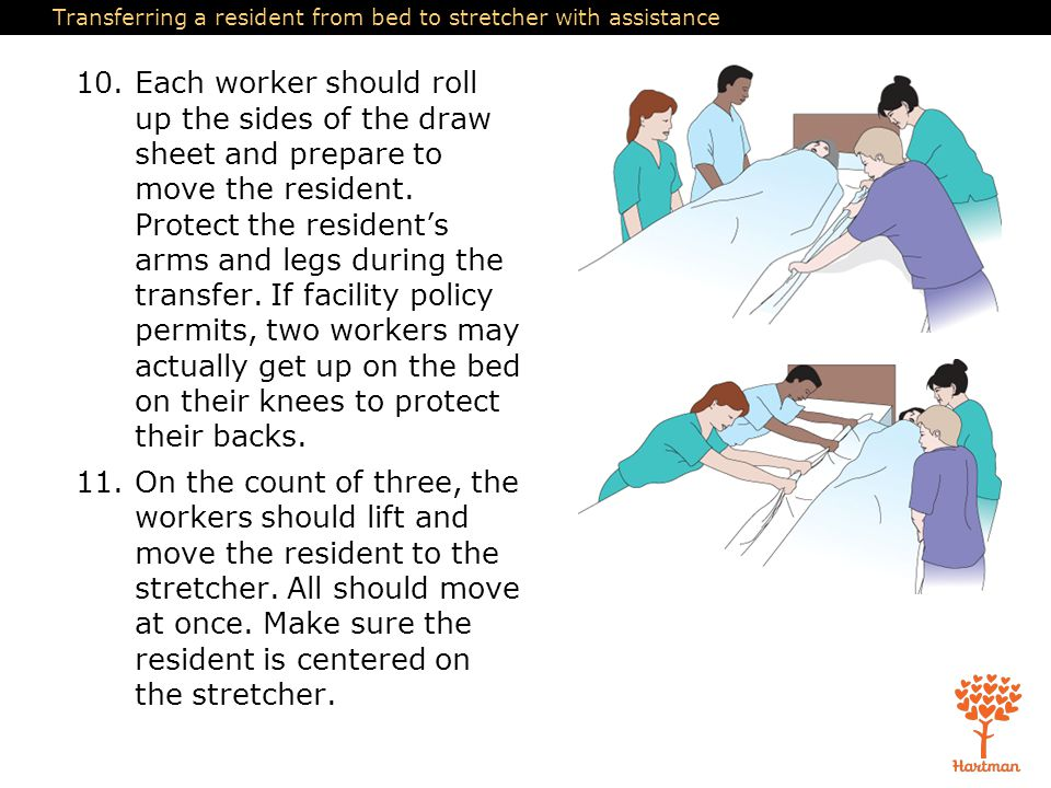 Transferring a resident from bed to stretcher with assistance