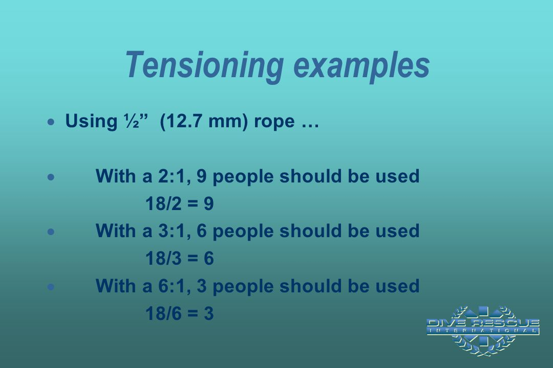 Tensioning examples Using ½ (12.7 mm) rope …