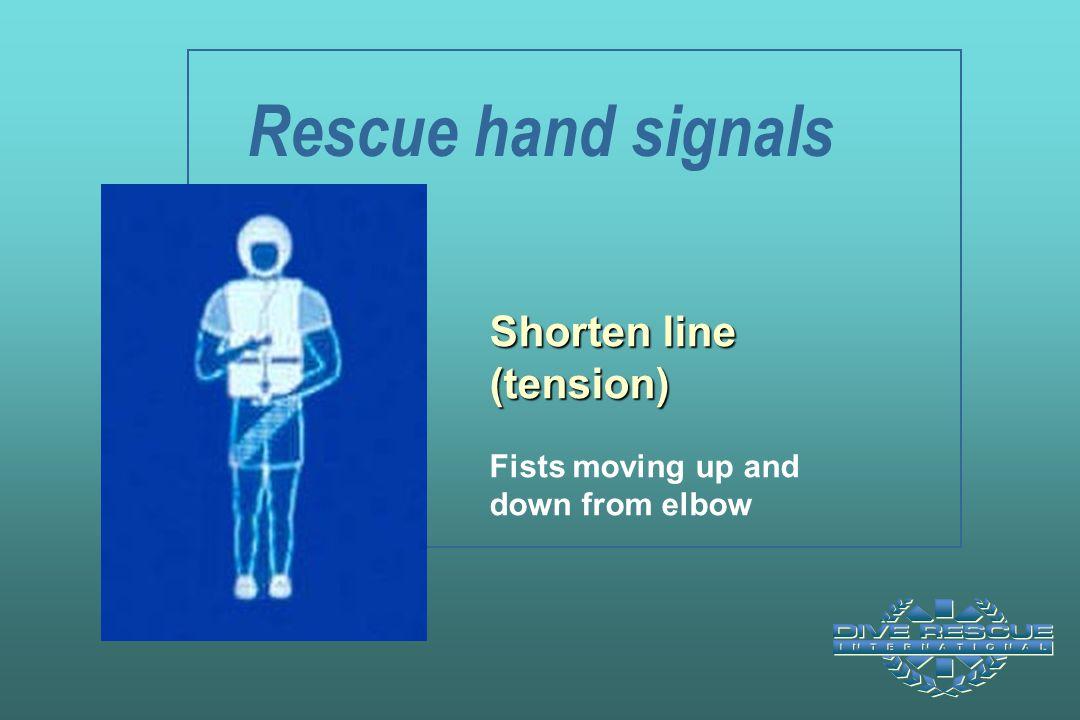 Rescue hand signals Shorten line (tension)