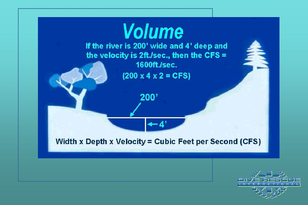 Test Question #8: A river is 100' wide and averages 6' deep. The velocity is 3 ft/sec. What is the volume flow