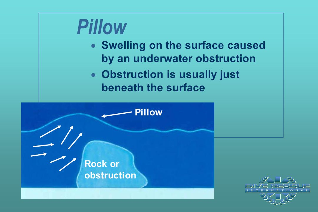 Pillow Swelling on the surface caused by an underwater obstruction