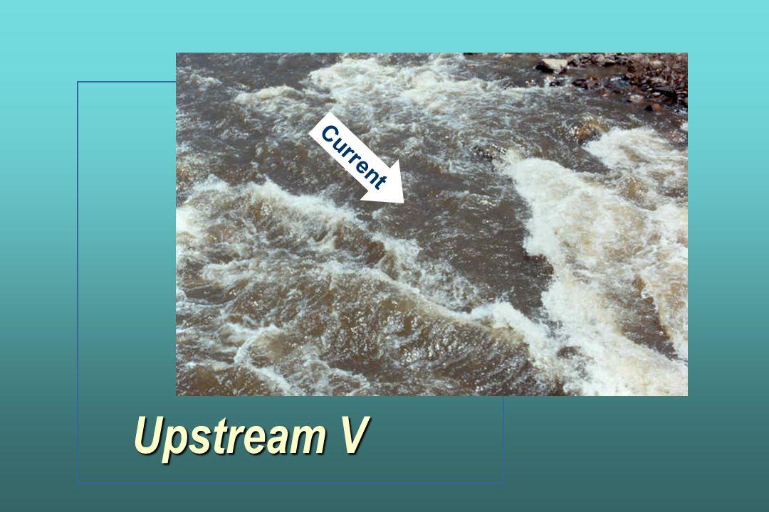 Current Upstream V's mark obstructions and areas to avoid. Upstream V