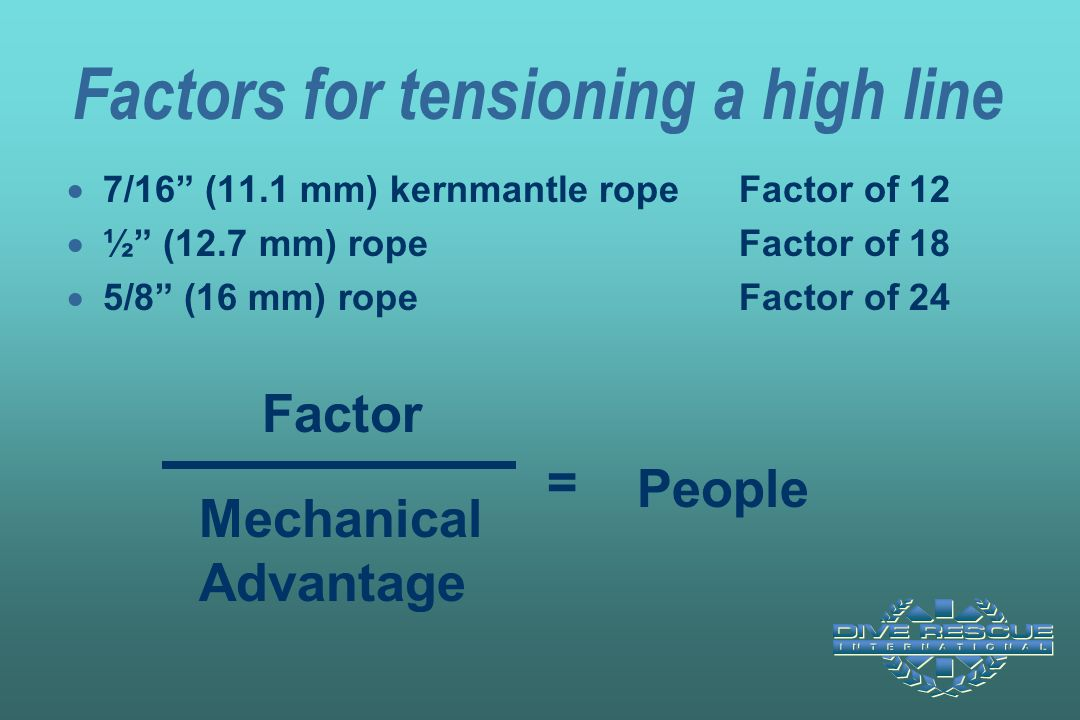 Factors for tensioning a high line