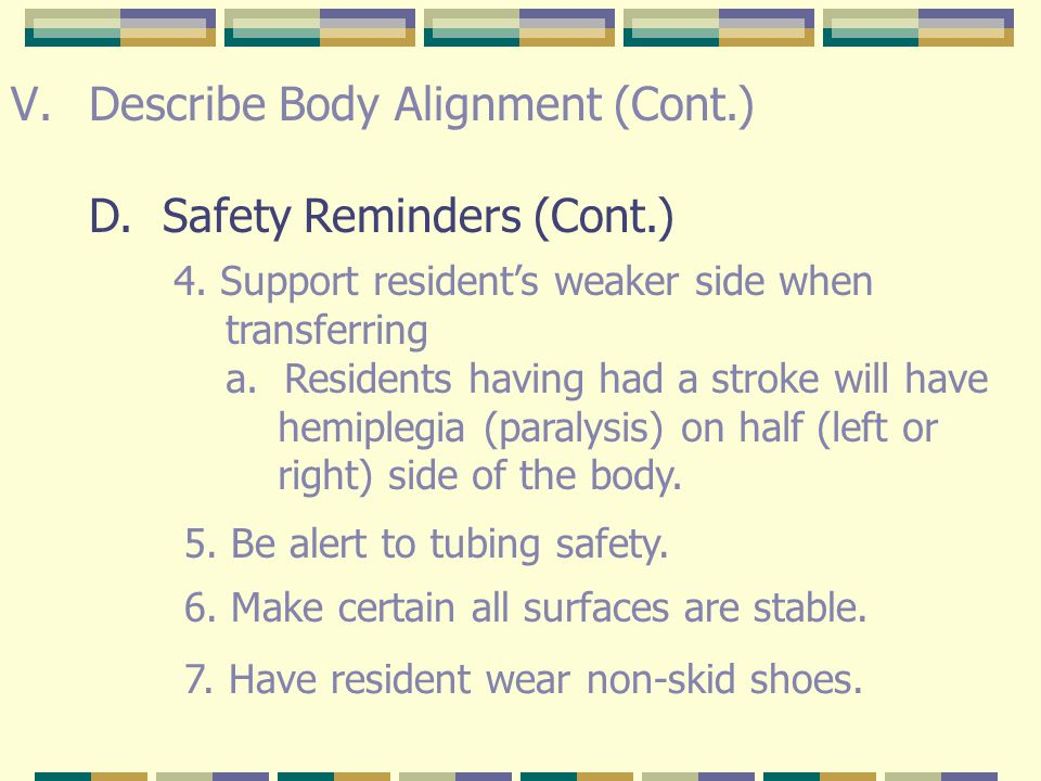 Describe Body Alignment (Cont.) D. Safety Reminders (Cont.)