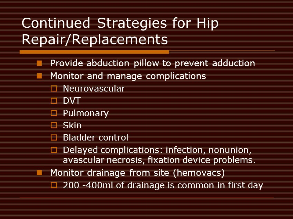 Continued Strategies for Hip Repair/Replacements