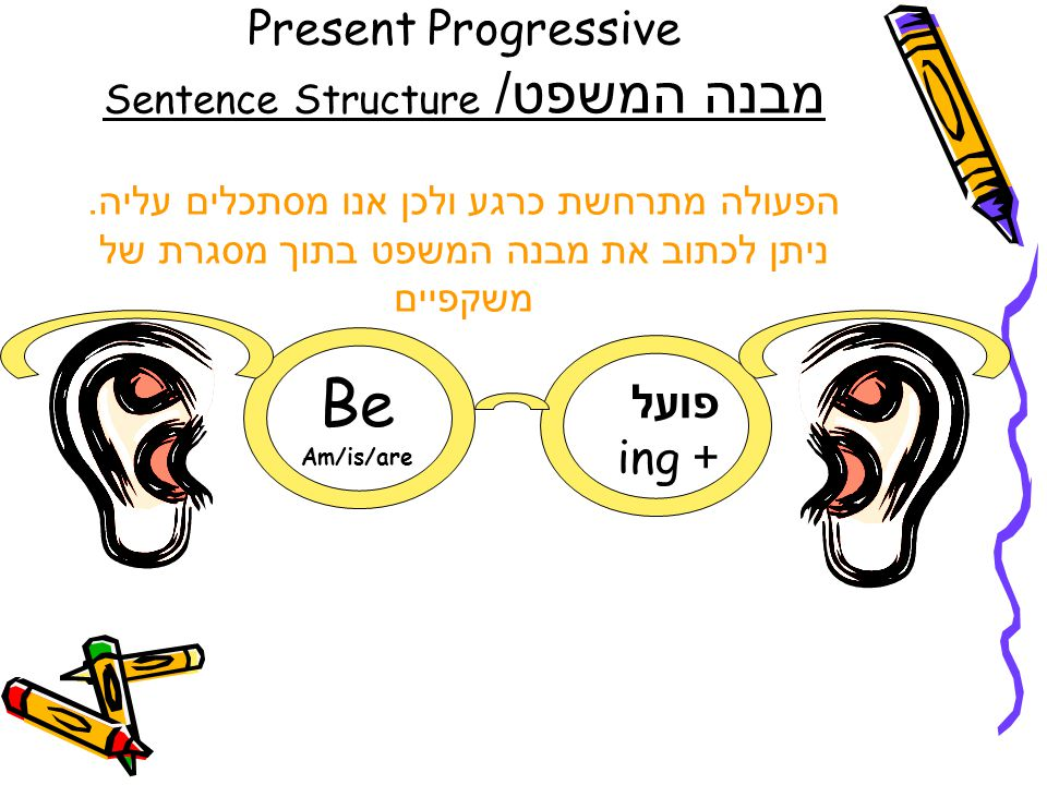 Present Progressive מבנה המשפט/ Sentence Structure הפעולה מתרחשת כרגע ולכן אנו מסתכלים עליה. ניתן לכתוב את מבנה המשפט בתוך מסגרת של משקפיים