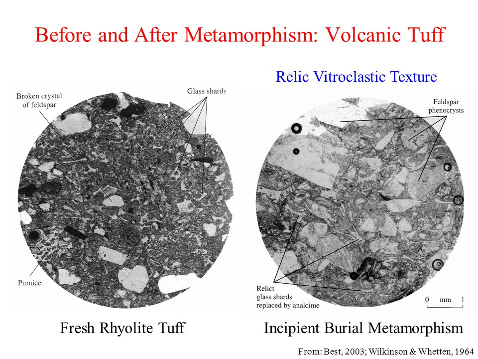 Before and After Metamorphism: Volcanic Tuff