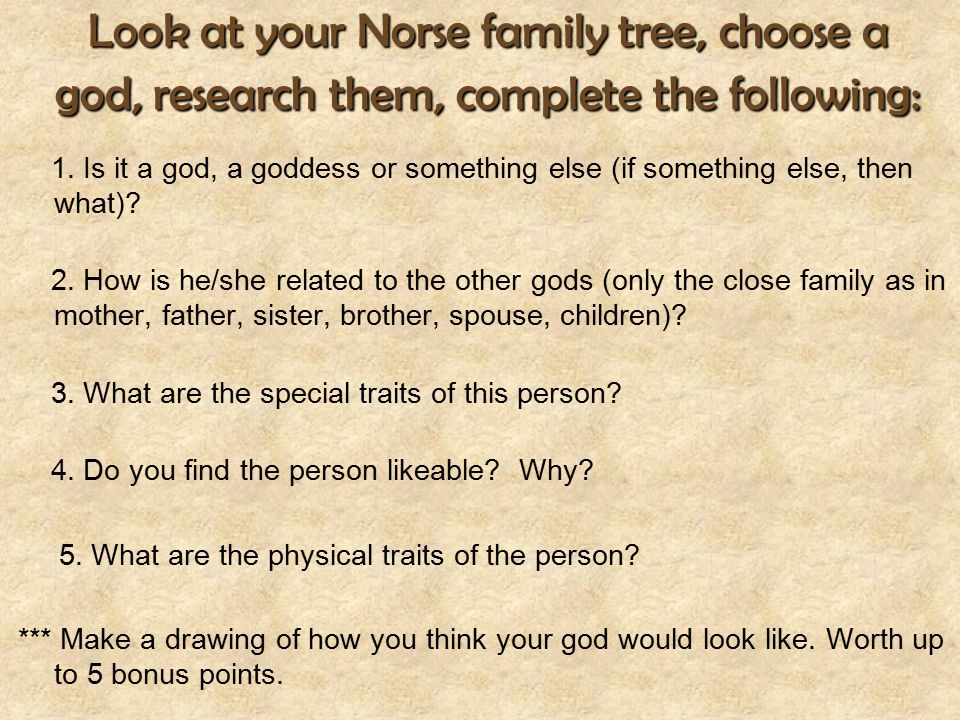 Look at your Norse family tree, choose a god, research them, complete the following: