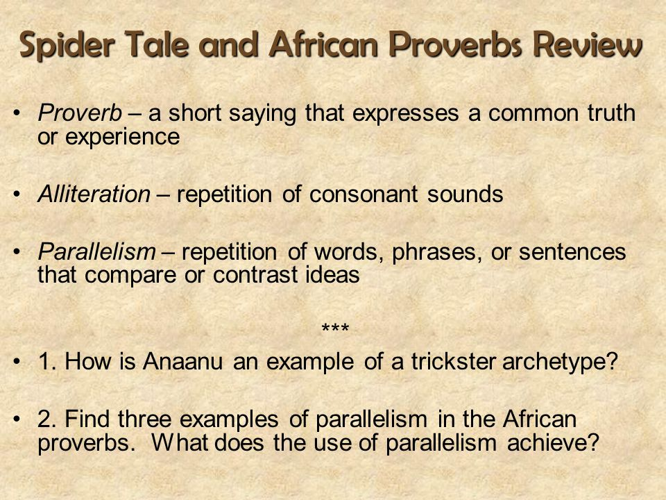 Spider Tale and African Proverbs Review