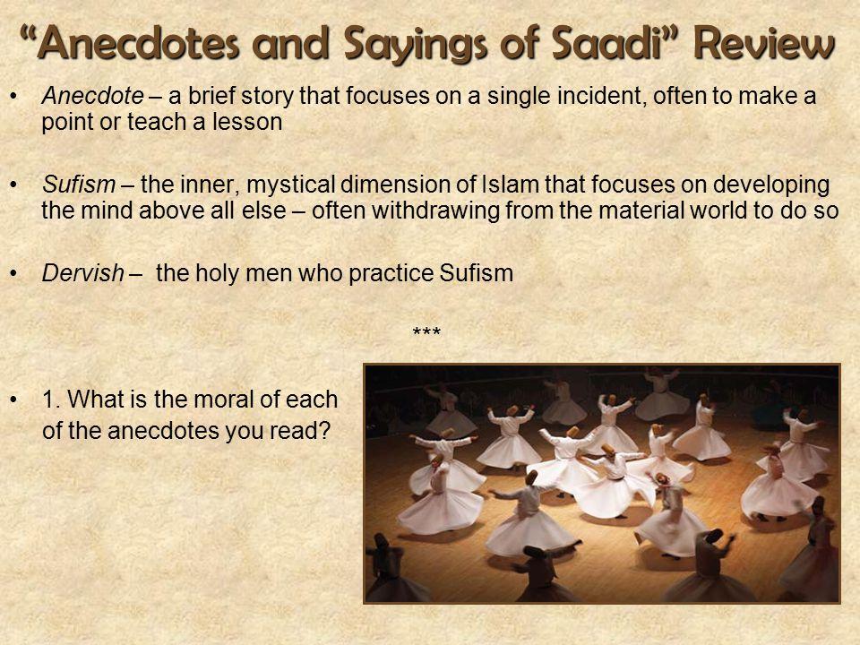 Anecdotes and Sayings of Saadi Review