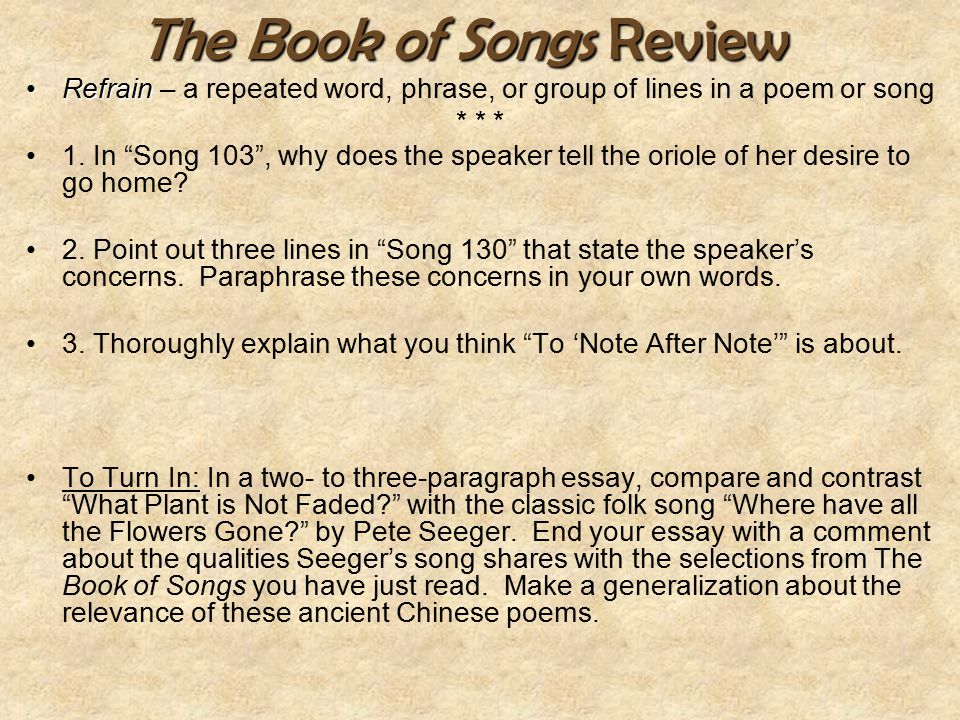 The Book of Songs Review