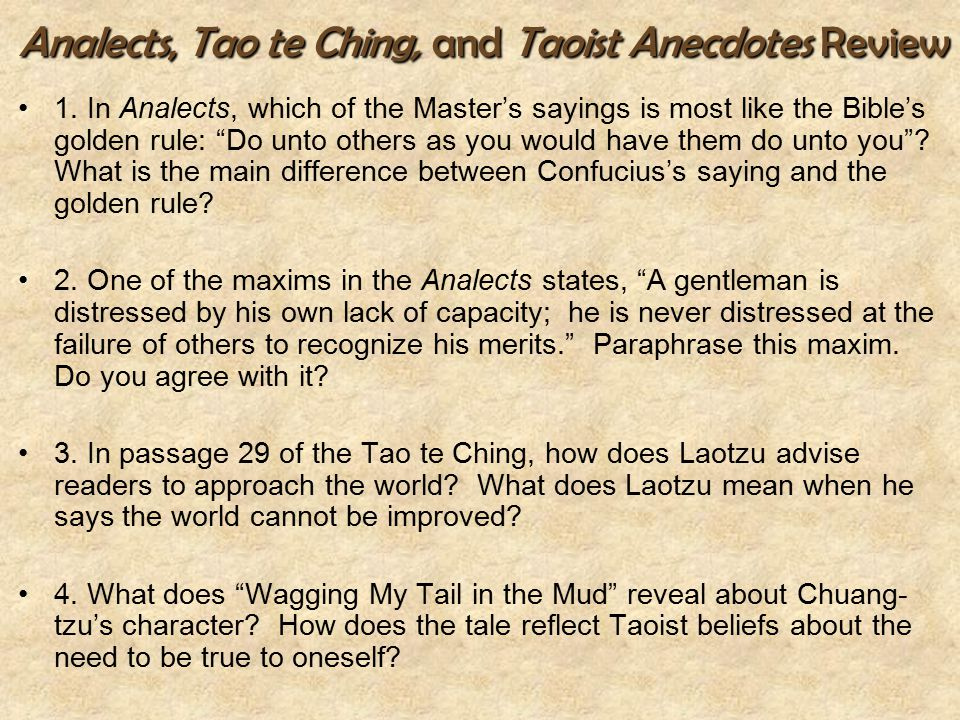 Analects, Tao te Ching, and Taoist Anecdotes Review