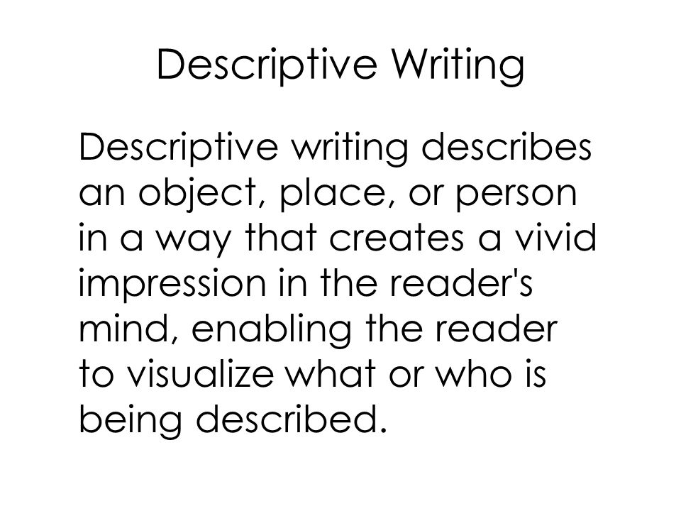 descriptive writing place