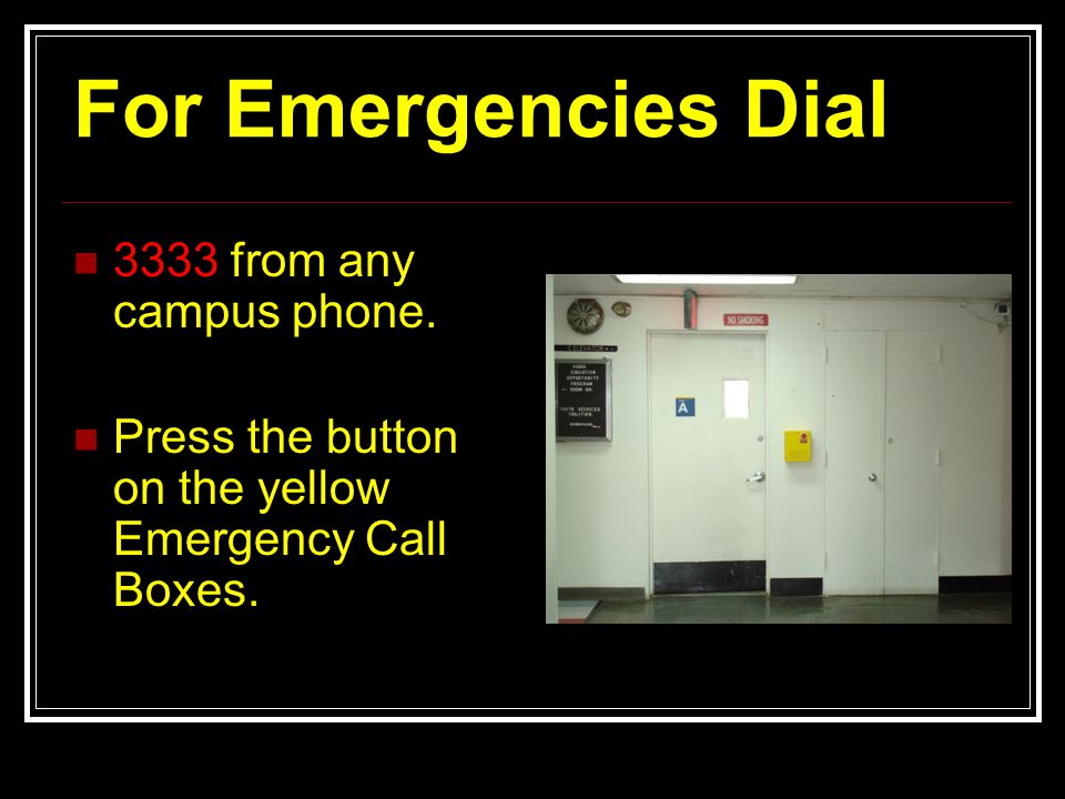For Emergencies Dial 3333 from any campus phone.