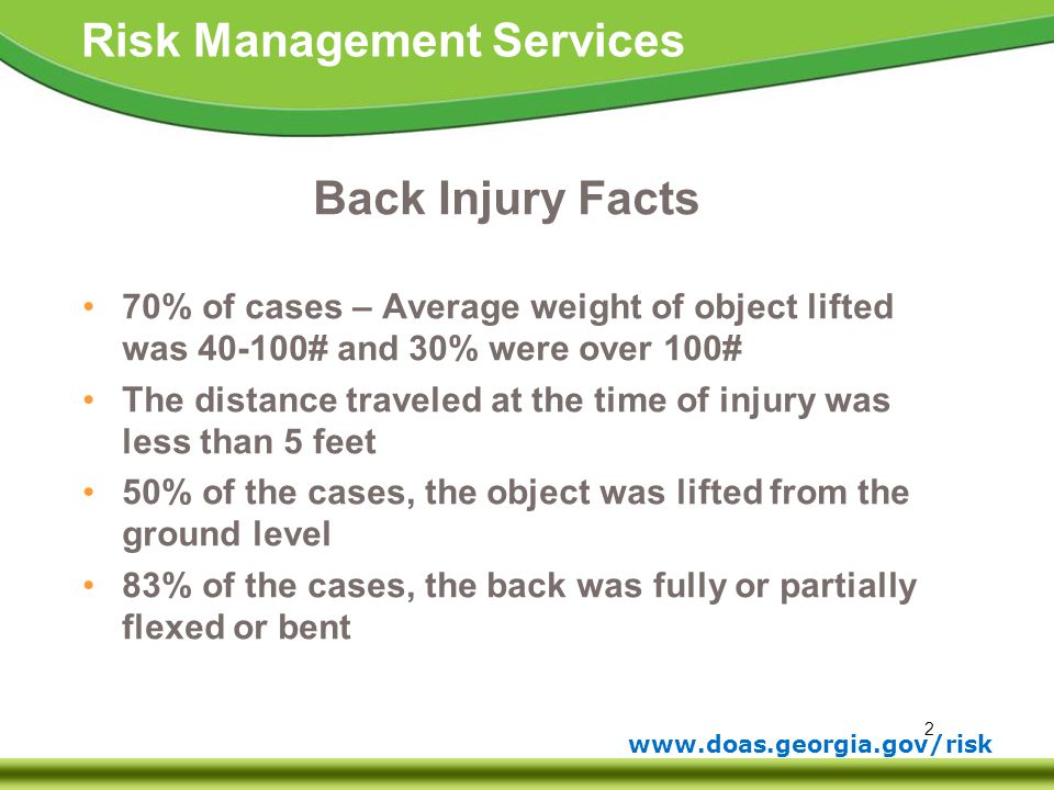 Back Injury Facts 70% of cases – Average weight of object lifted was 40-100# and 30% were over 100#