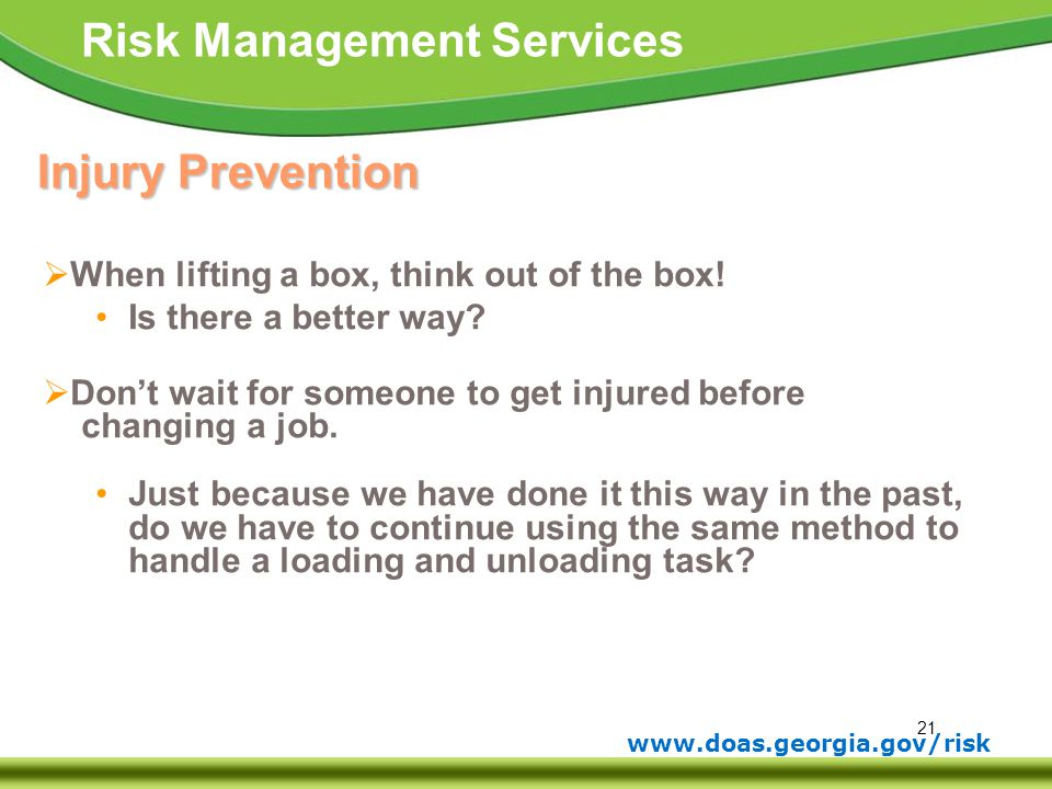Injury Prevention - When lifting a box, think out of the box!