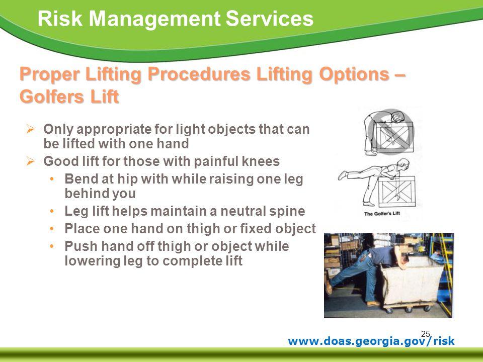 Proper Lifting Procedures Lifting Options – Golfers Lift