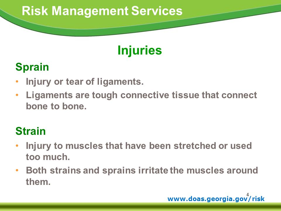 Injuries Sprain Strain Injury or tear of ligaments.